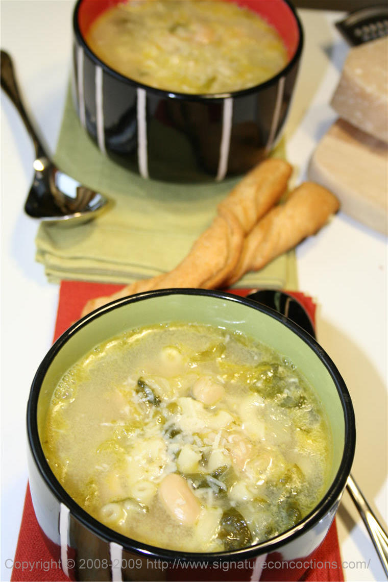 Escarole with Cannelini Beans, Pasta and Asiago cheese