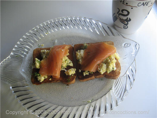 smoked salmon and eggs tartines