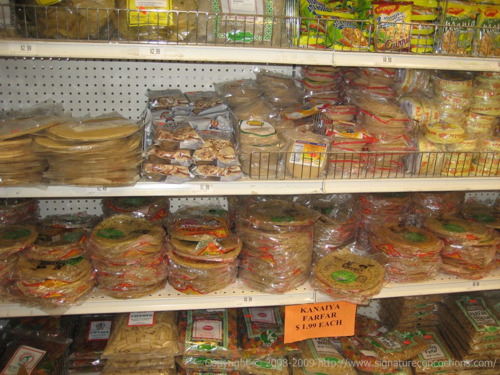 A variety of Papads at Bhavani Cash & Carry, Iselin, NJ