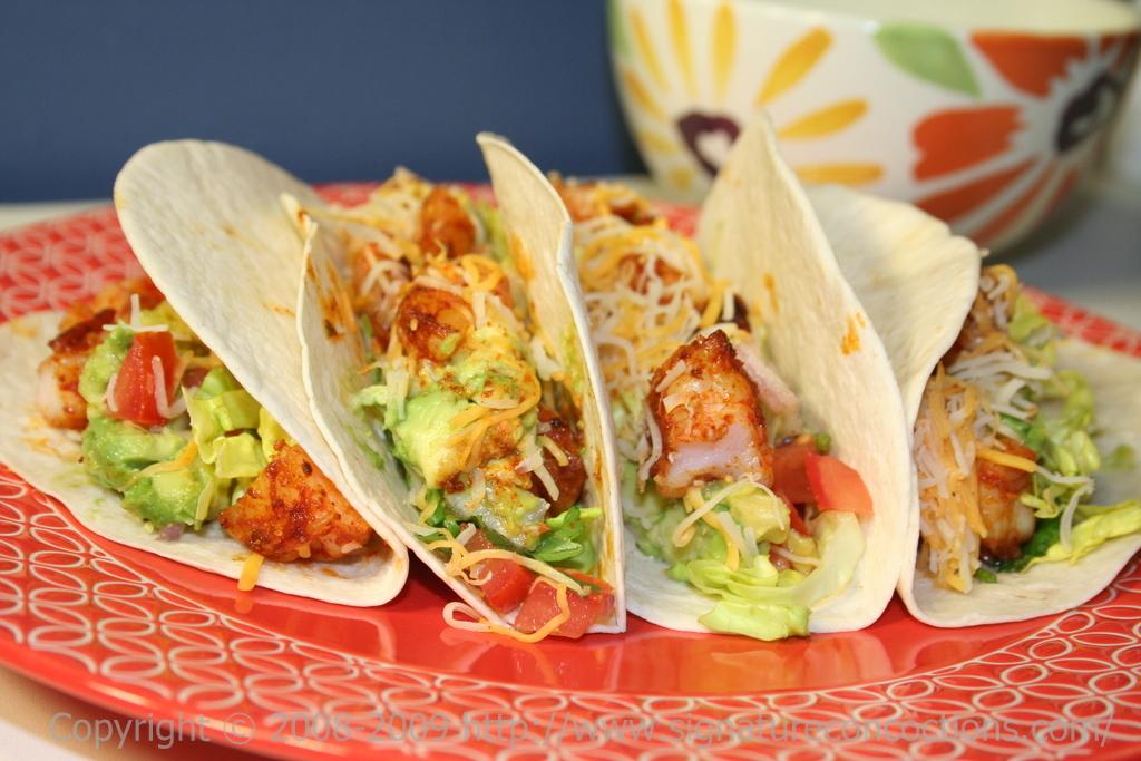shrimp tacos with tomato-avocado salsa
