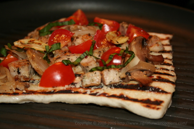 grilling pizza with toppings