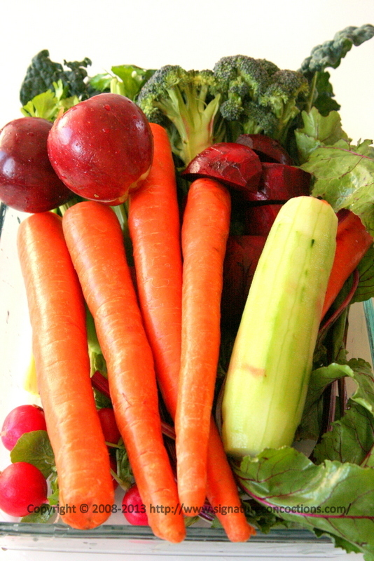 Fresh veggies and fruits ready to be juiced