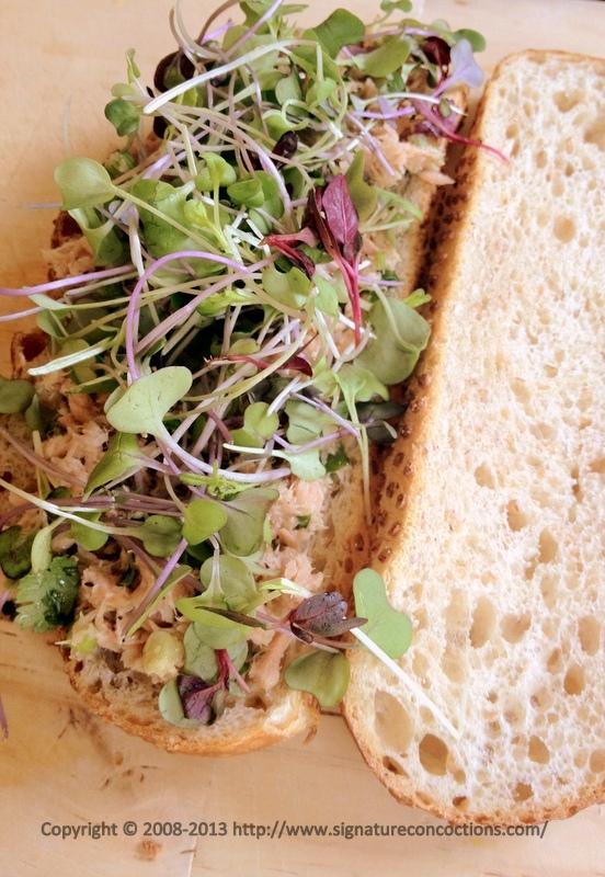 Bruschetta with Lemony Tuna and Microgreens