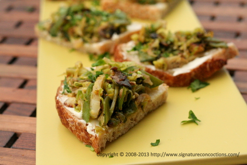Bruschettas with Mascarpone Cheese and Sautéed Brussel Sprouts